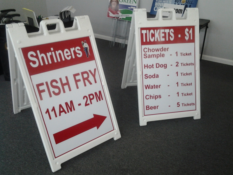 shrine club a-frame signs