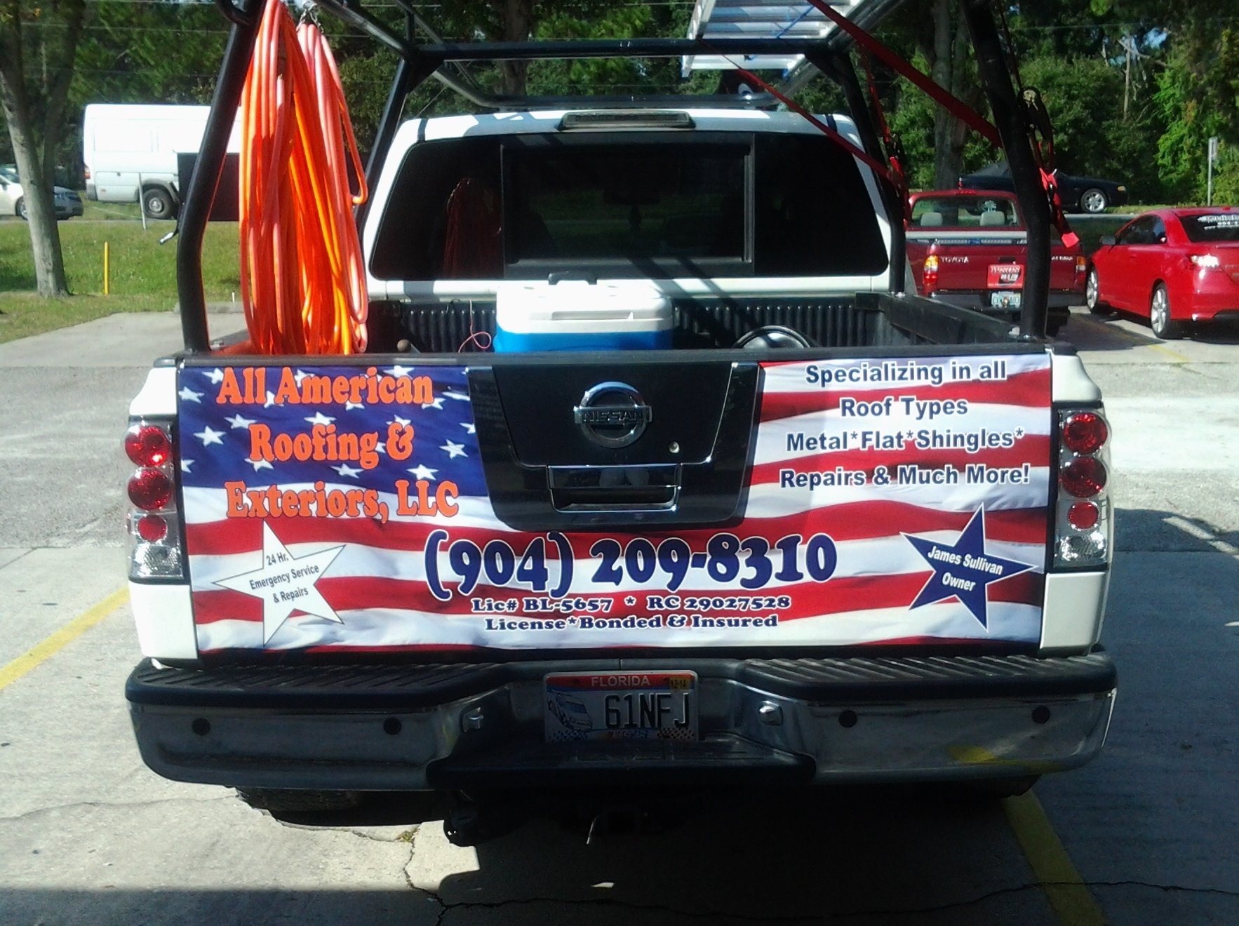 all american roofing & exteriors tailgate wrap