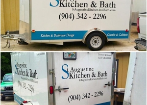 st. augustine kitchen & bath trailer lettering